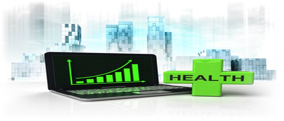 health cross with positive online results in business district illustration